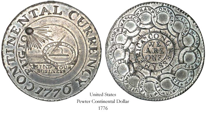 1776 PEWTER USA DOLLAR COIN!