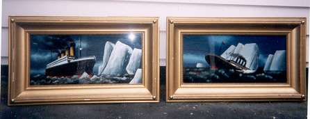 2 FRAMED REVERSE PAINTINGS OF THE TITANIC!